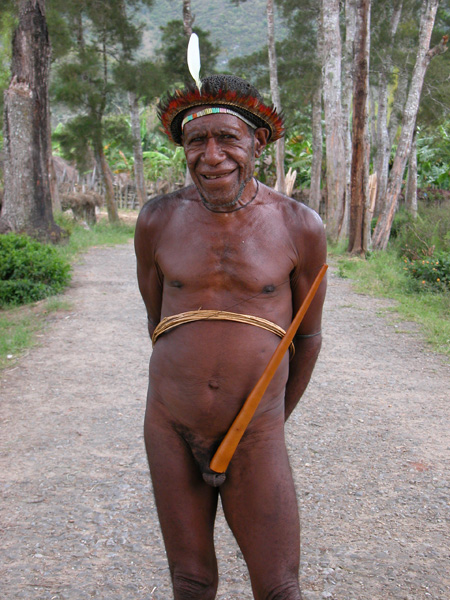 Papua, Indonesia - Dani Elder in Traditional Koteka  (Penis Gourd)
