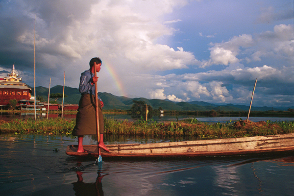 Leg Rower of Inle Lake in Myanmar (Burma)