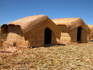 Reed Houses on the Floating Reed Island in Lake Titicaca