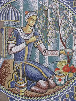 Teahouse Mosaic in Istaravshan, Tajikistan