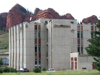 Jeti Oghuz Sanitorium, Complete with Chunks Out of the Wall - Kyrgyzstan