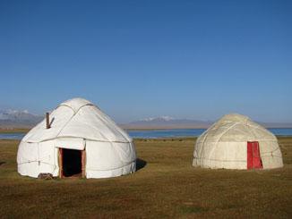 Yurts at Song Kol, Kyrgyzstan