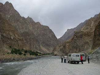 Flat Tire #2. Afghanistan is Across the River on the Left.