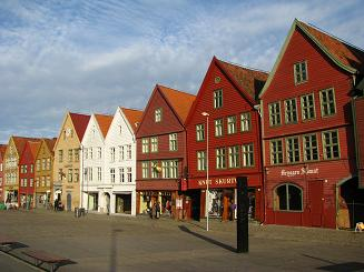 Bryggen Waterfront Area in Bergen, Norway