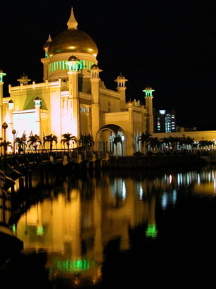 Sultan Omar Ali Saiffuddien Mosque at Night