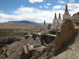 Chortens on north side of Sakya Monastery complex