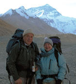 Dad and Laura in front of Mt. Everest