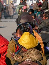 Villagers taking in Losar