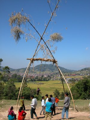 Dhulikel, Nepal - Swing for Dashain Festival