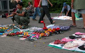 Bangkok, Thailand - Toy Trucks and Underwear for Sale on the Street