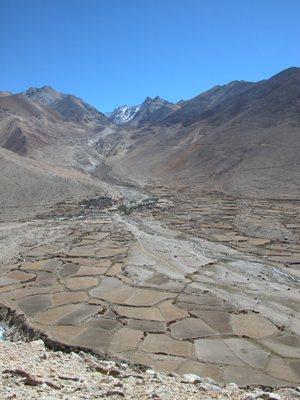 Road to Zhangmu, Tibet - Small Village and Fields