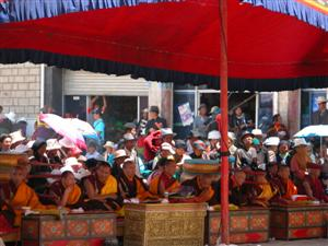 Samye, Tibet - Monks Playing Instruments for Cham Dancing