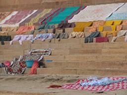 Laundry drying on Varanasi ghat