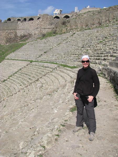 Bergama, Turkey - Rhona at Pergamum Acropolis Ruins