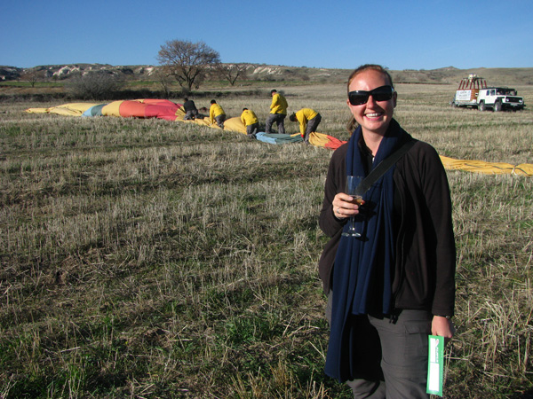 Cappadocia, Turkey - Rhona with Champagne after Ballooning