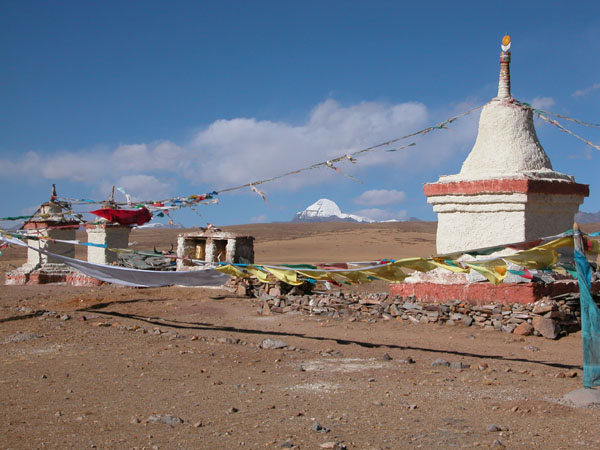 Chortens in Western Tibet, with the Holy Mt. Kailash in the Background