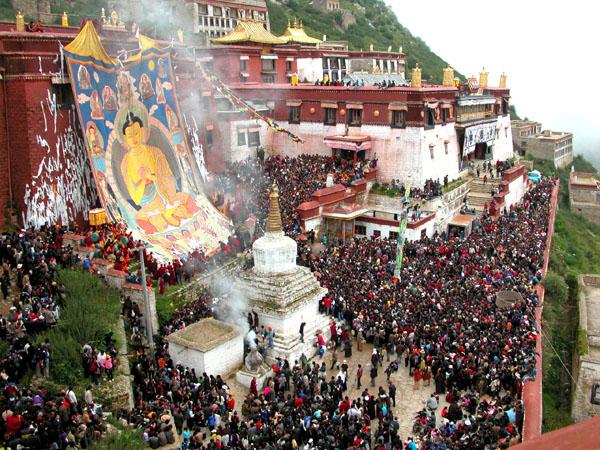 Giant Thangka Festival at Ganden Monastery, Tibet