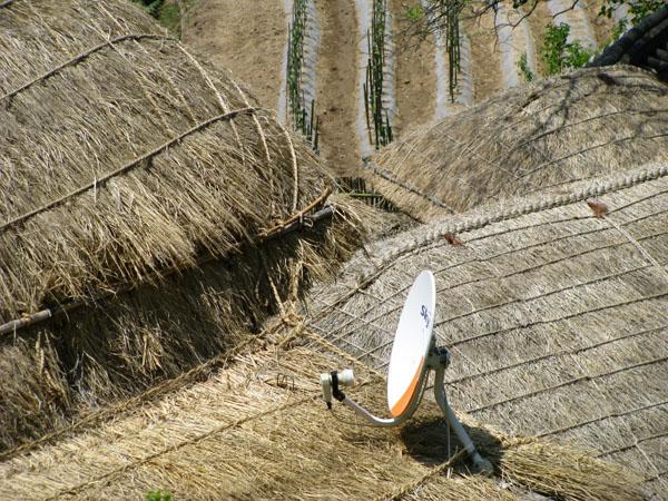 Gyeongju, South Korea - Yangdong Folk Village, Thatch Roof, & Satellite Dish