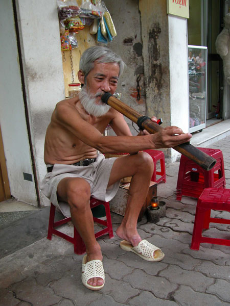 Enjoying His Smoke in Hanoi, Vietnam