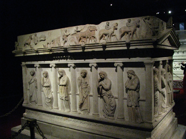 Istanbul, Turkey - Archaeological Museum Mourning Women Sarcophagus