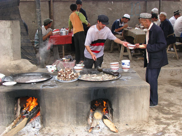 Kashgar, China - Sunday Livestock Market Lunch is Served