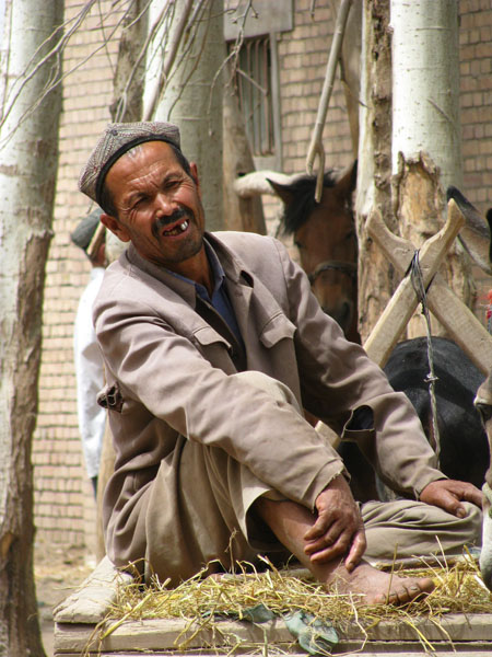 Kashgar, China - Local at the Sunday Livestock Market