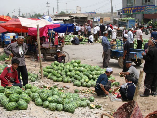 Kashgar, China - Watermelons for Sale at the Sunday Livestock Market