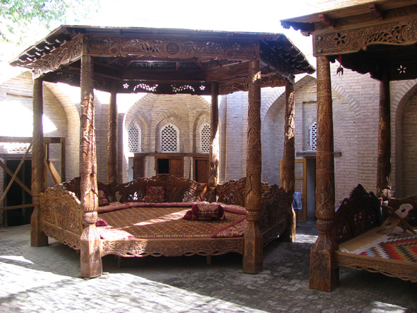 Khiva, Uzbekistan - Tea and Rest Gazebo at Wood Carving Factory