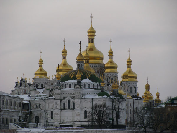 Kyiv, Ukraine - Lavra Dormition Cathedral and Refectory Church of St Antoniy and St Feodosiy
