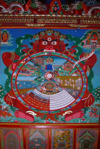 Tibetan Wheel of Life Mural at a Monastery in Langmusi, China