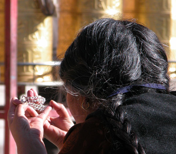 Prayer Beads and Mudra, or Sacred Hand Position, in Lhasa, Tibet