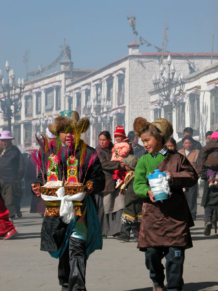 Lhasa, Tibet - Barley Offerings and Barley Beer for Tibetan New Year