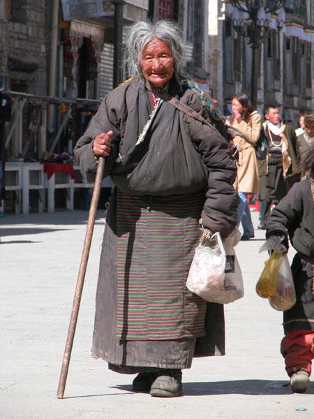 Elderly Tibetan Woman during Losar, or New Year Celebration