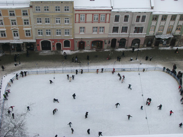 Lviv, Ukraine - View of the Skating Rink from Town Hall Tower