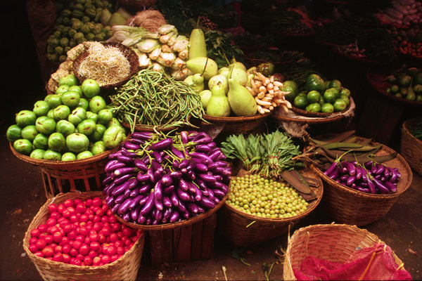 Vegetables on Offer in a Mandalay Market