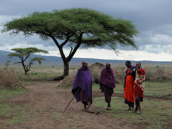 Masai Men Relaxing in Tanzania, Africa