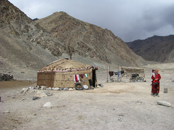 Yurt and Family on the Gumbezkul Valley Hike in the Pamirs - Tajikistan