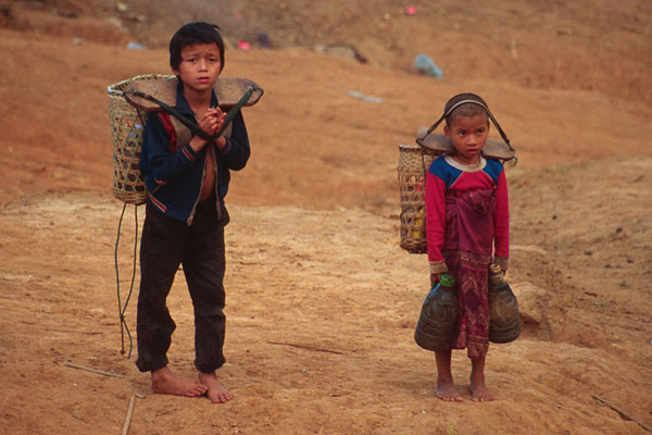 Kids Carrying Water in Norther Laos