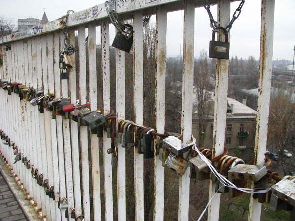 Odessa, Ukraine - Locks on Mother in Law Bridge