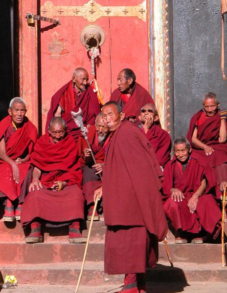 Monks at Tashilhunpo Monastery in Shigatse, Tibet