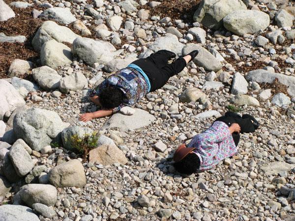 Sokcho, South Korea - Seoraksan Park Visitors Sleeping in the River Bed