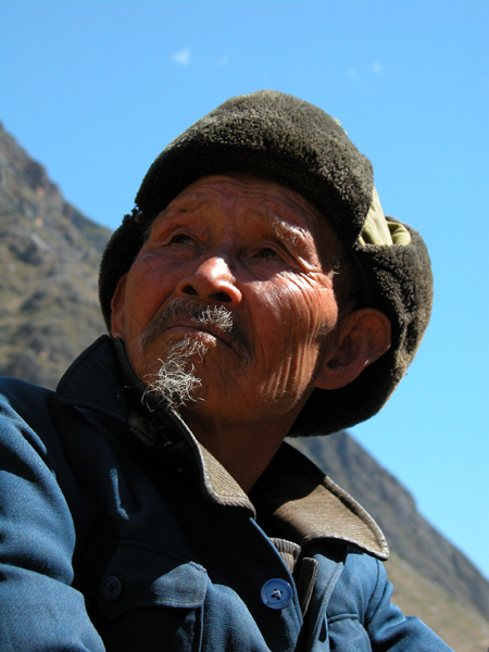 Elderly Man of Tiger Leaping Gorge in China