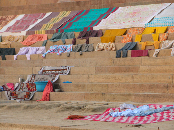 Drying Clothes on the Varanasi Ghats in India